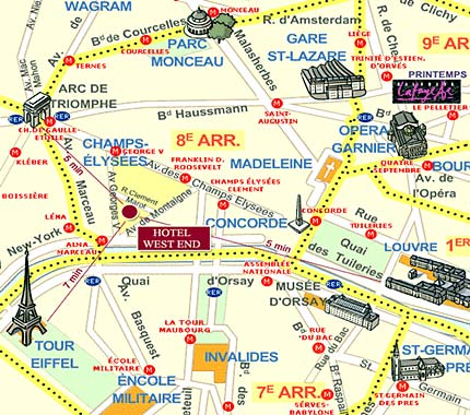 Gard Du Nord Paris Map.Hotel West End Paris Near The Champs Elysees And Close To The Arch