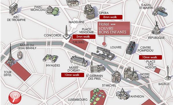 Hotel louvre bons enfants paris near the louvre museum and for Bon plan hotel paris
