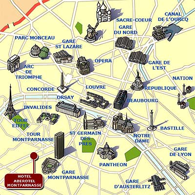 hotel aberotel montparnasse paris map and access how to reach us map 1