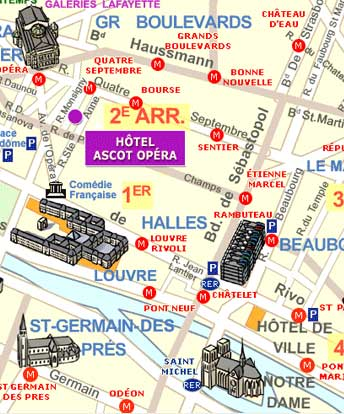 hotel ascot opera paris map and access how to reach us map with map of paris metro image