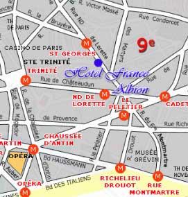 hotel france albion paris near the garnier opera paris how to get to our hotel plan map route. Black Bedroom Furniture Sets. Home Design Ideas