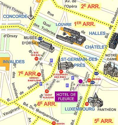 Hotel De Fleurie Paris Near The SaintGermain Des Prés District - Hotels map in paris