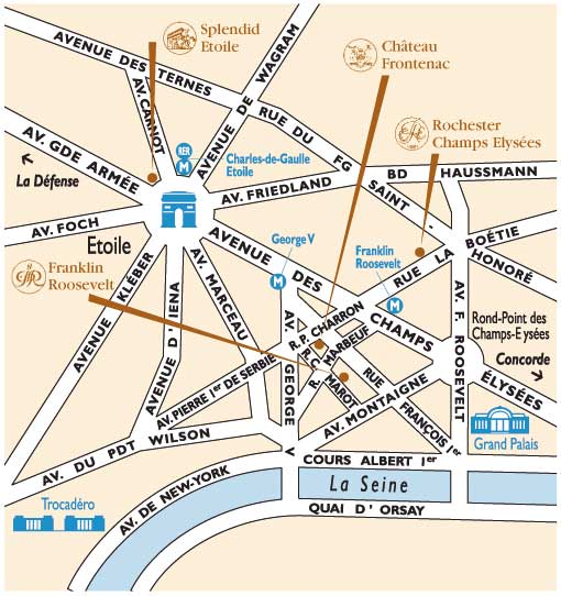 Hotel Franklin Roosevelt Paris Near The Champs Elysees Paris How To Get To Our Hotel Plan