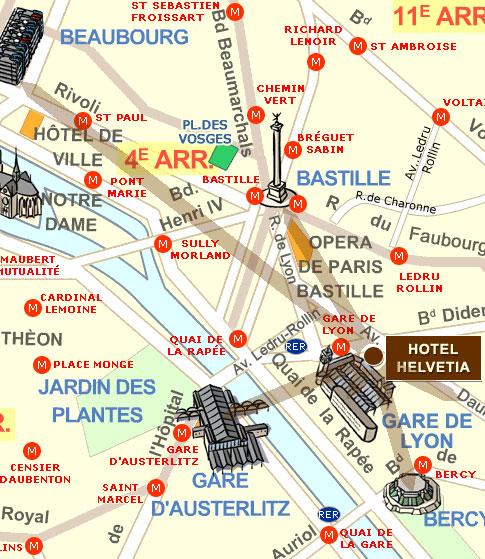 Hotel helvetia paris in der n he der gare de lyon erreichen sie unser hotel plan karte - Gare de lyon jardin des plantes ...